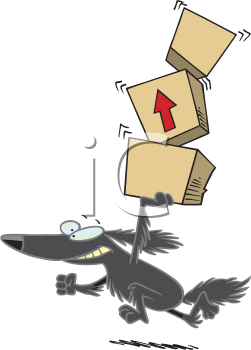 Royalty Free Clipart Image of a Dog Carrying Boxes