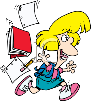 Royalty Free Clipart Image of a Little Girl Throwing Schoolbooks