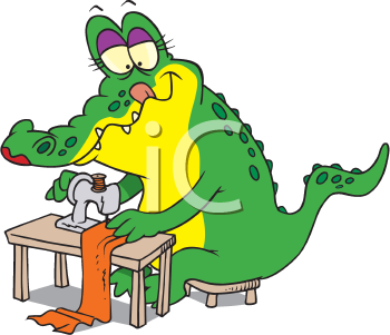 Royalty Free Clipart Image of a Sewing Alligator