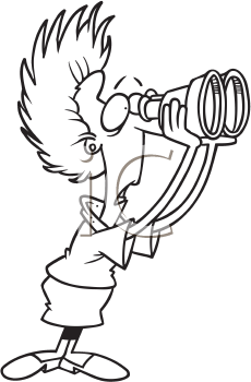 Royalty Free Clipart Image of a Shocked Woman Looking Through Binoculars