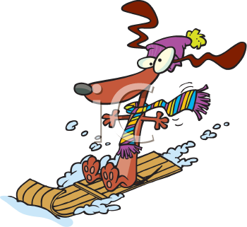 Royalty Free Clipart Image of a Dog on a Toboggan