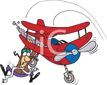 Royalty Free Clipart Image of a Man Hanging From a Plane