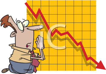 Royalty Free Clipart Image of a Man Praying Beside a Graph