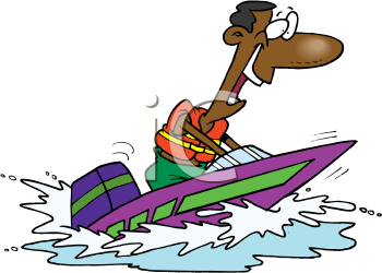 Royalty Free Clipart Image of a Man Boating