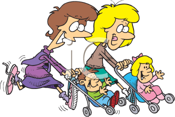 Royalty Free Clipart Image of Two Moms Pushing Strollers