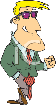 Royalty Free Clipart Image of a Man in a Suit