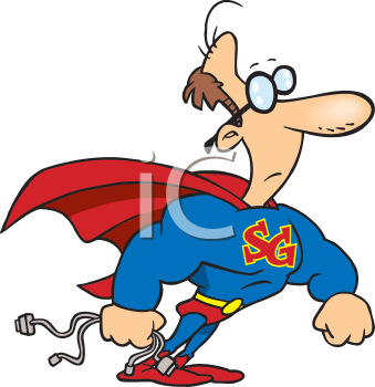 Royalty Free Clipart Image of Super Geek