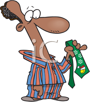 Royalty Free Clipart Image of a Man Looking at a Christmas Tie