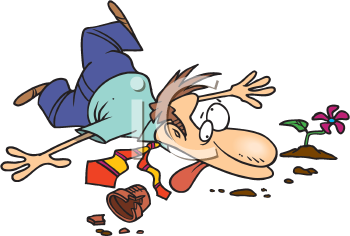 Royalty Free Clipart Image of a Man Who Has Fallen While Carrying a Flower Pot