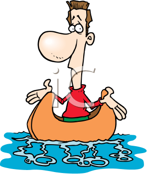 Royalty Free Clipart Image of a Man Adrift in a Boat
