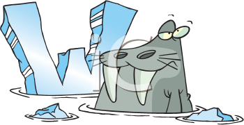 Royalty Free Clipart Image of a Walrus and a Ice W