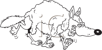 Royalty Free Clipart Image of a Wolf Wearing Sheep's Wool