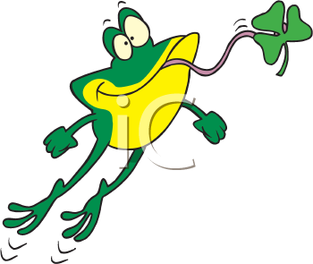 Royalty Free Clipart Image of a Frog With a Shamrock