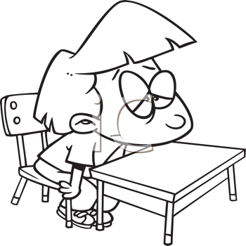 Royalty Free Clipart Image of a Bored Student