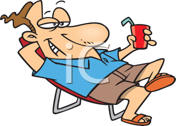 Royalty Free Clipart Image of a Man Relaxing With a Cold Drink