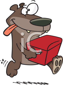Royalty Free Clipart Image of a Bear Stealing a Cooler