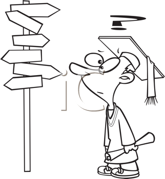 Royalty Free Clipart Image of a Graduate Trying To Decide What Direction To Go
