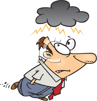Royalty Free Clipart Image of a Man Under a Cloud
