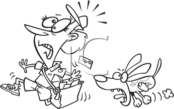 Royalty Free Clipart Image of a Postal Worker Being Chased By a Dog