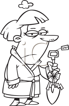 Royalty Free Clipart Image of a Man Holding a Shovel with a Christmas Ribbon On It