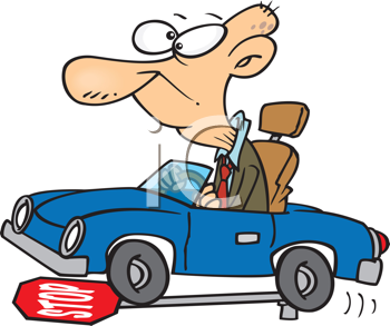 Royalty Free Clipart Image of a Male Driving Knocking Down a Stop Sign