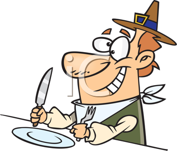 Royalty Free Clipart Image of a Pilgrim Ready to Eat