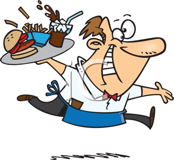 Royalty Free Clipart Image of a Waiter Running With a Tray of Food