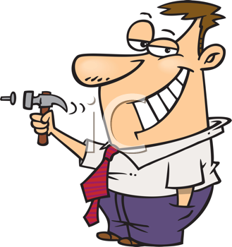 Royalty Free Clipart Image of a Guy Hammering a Nail