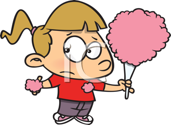 Royalty Free Clipart Image of a Girl With Candy Floss