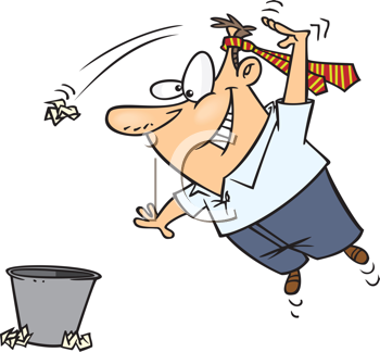 Royalty Free Clipart Image of a Guy Tossing Trash in a Garbage Can