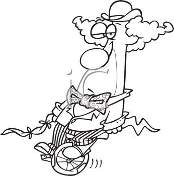 Royalty Free Clipart Image of a Frowning Clown on a Unicycle