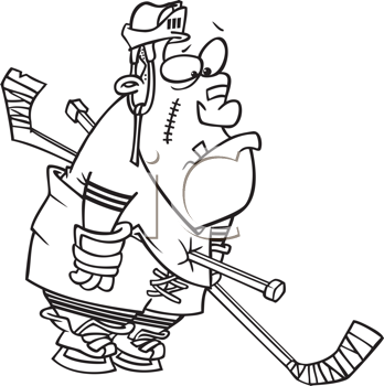 Royalty Free Clipart Image of a Hockey Player With a Stick in Him