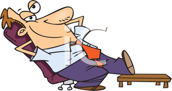Royalty Free Clipart Image of a Guy Relaxing in a Chair With His Foot on a Table