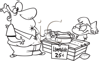 Royalty Free Clipart Image of a Man Drinking Sour Lemonade at a Stand
