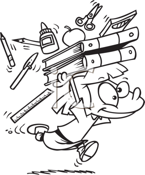 Royalty Free Clipart Image of a Keen Student