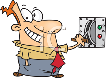 Royalty Free Clipart Image of a Man Pulling a Switch