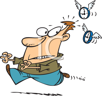 Royalty Free Clipart Image of a Man Being Chased by Flying Clocks