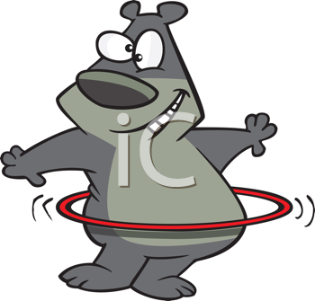 Royalty Free Clipart Image of a Bear With a Hula Hoop