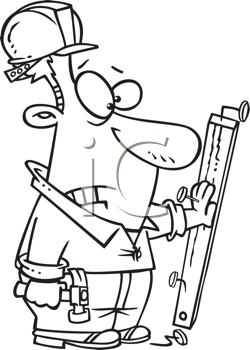 Royalty Free Clipart Image of a Man With His Hand Nailed to a Board