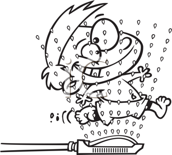 Royalty Free Clipart Image of a Child Running Through a Sprinkler