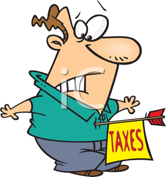 Royalty Free Clipart Image of a Man With a Taxes Arrow in His Chest