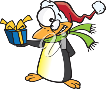 Royalty Free Clipart Image of a Penguin With a Present