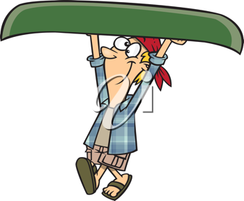 Royalty Free Clipart Image of a Person Carrying a Canoe