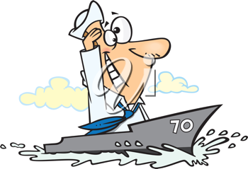 Royalty Free Clipart Image of a Man on a Boat
