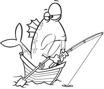 Royalty Free Clipart Image of a Fish in a Boat Fishing