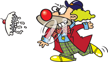 Royalty Free Clipart Image of a Clown Throwing a Pie