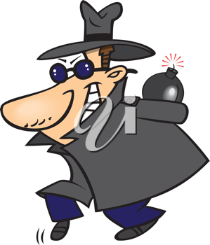 Royalty Free Clipart Image of a Man Holding a Bomb