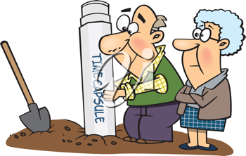 Royalty Free Clipart Image of an Older Couple Burying a Time Capsule