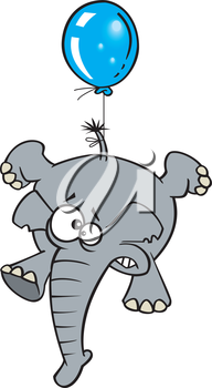 Royalty Free Clipart Image of an Elephant Being Lifted By a Balloon
