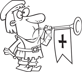 Royalty Free Clipart Image of a Court Herald Blowing a Horn